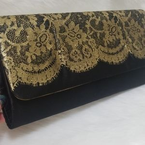 Black Clutch with gold Glittery lace design